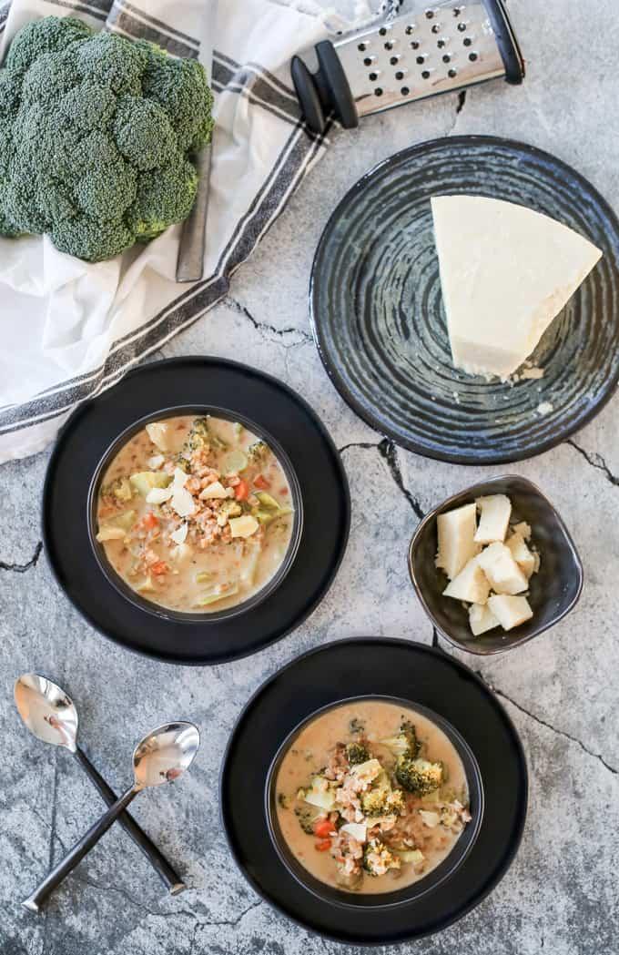 Chunky broccoli farro soup
