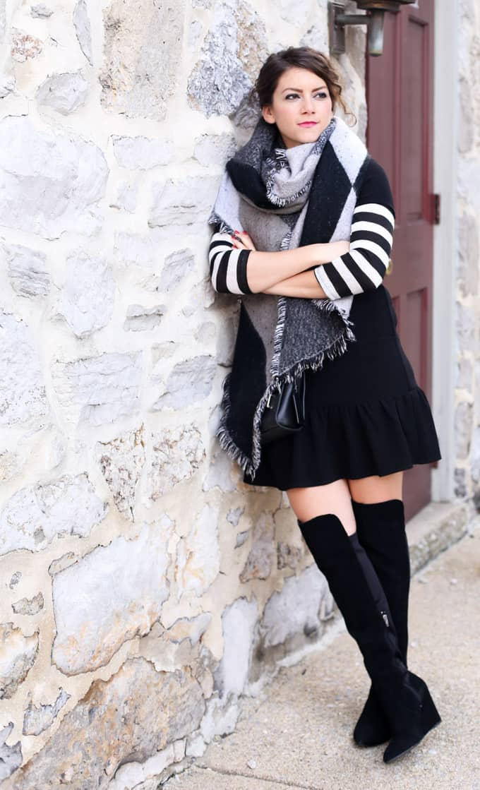 Fall Layers: blanket scarf, striped top, ruffle dress and over the knee boots