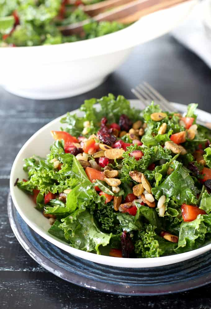 Kale, pomegranate arils, pistachios and wheat berries make up this delicious Moroccan style salad spiced with Ras al Hanout