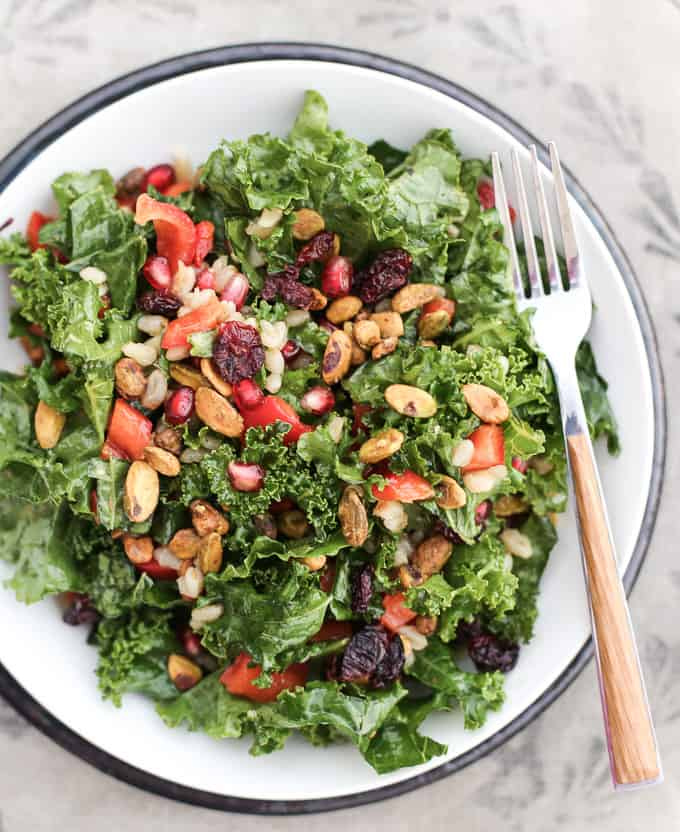 Kale, pomegranate arils, pistachios and wheat berries make up this delicious Moroccan spiced salad spiced with Ras al Hanout