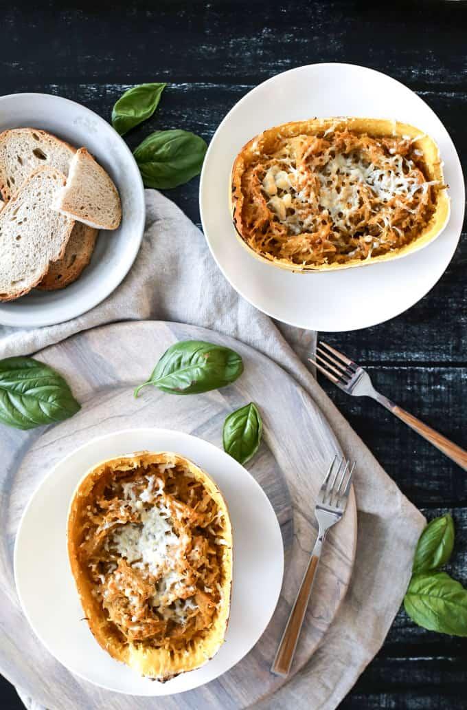 Spaghetti Squash Pasta with Red Pepper Pesto