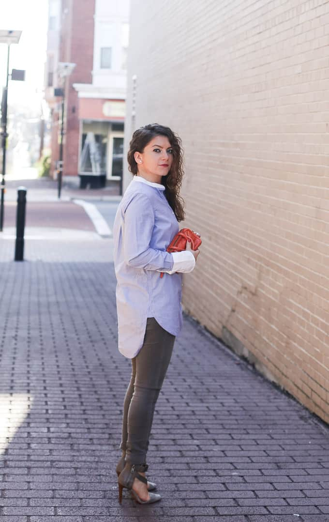 Collarless Blouse And Denim Allover