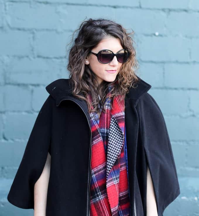 Fall Layers: cape, scarf, ruffle dress and OTK boots