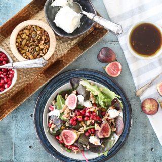 Fig Goat Cheese Salad w. Pomegranate Arils