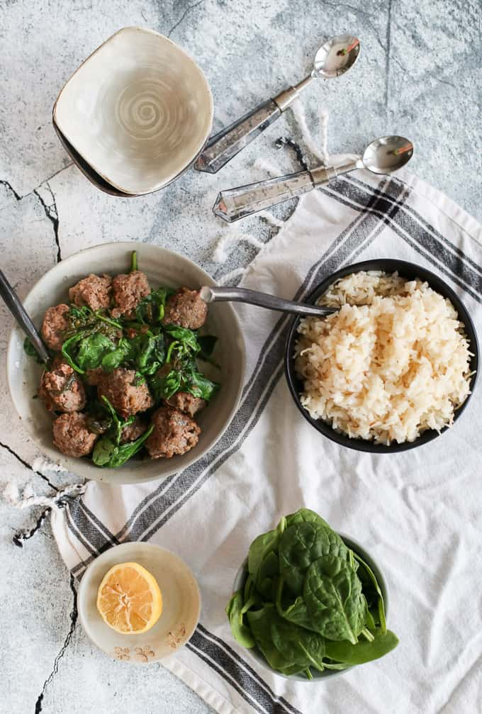 Middle Eastern Spinach w. Meatballs and Rice