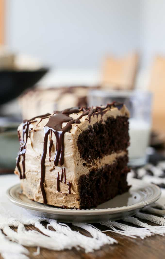 A delicious and moist homemade chocolate cake with coffee cream and chocolate ganache