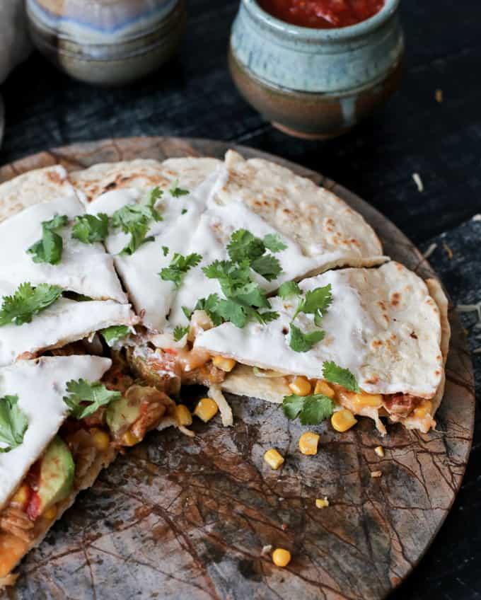 datil pepper chicken quesadillas with corn and jicama