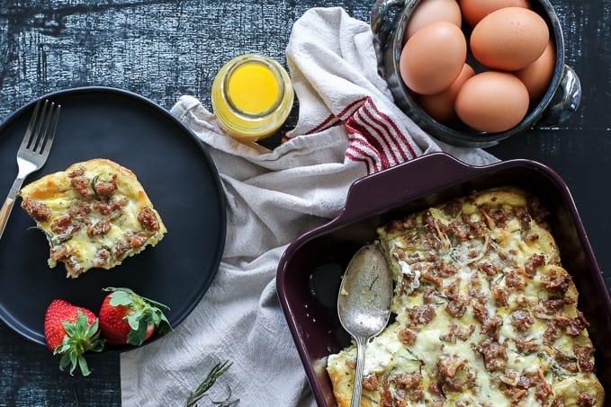 Goat Cheese + Sausage Breakfast Casserole