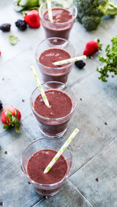 Beet + Berry Smoothie with kale, broccoli and spinach! A healthy smoothie to start your day!