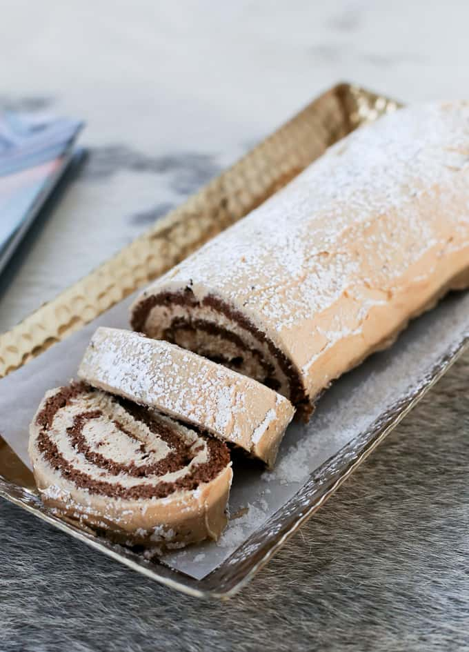 chocolate cake roll with peanut butter icing