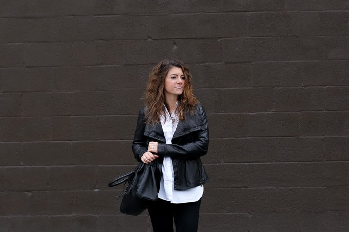 leather jacket, black denim and burgundy booties