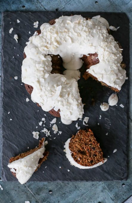 macerated currant coconut cake with coconut lime icing