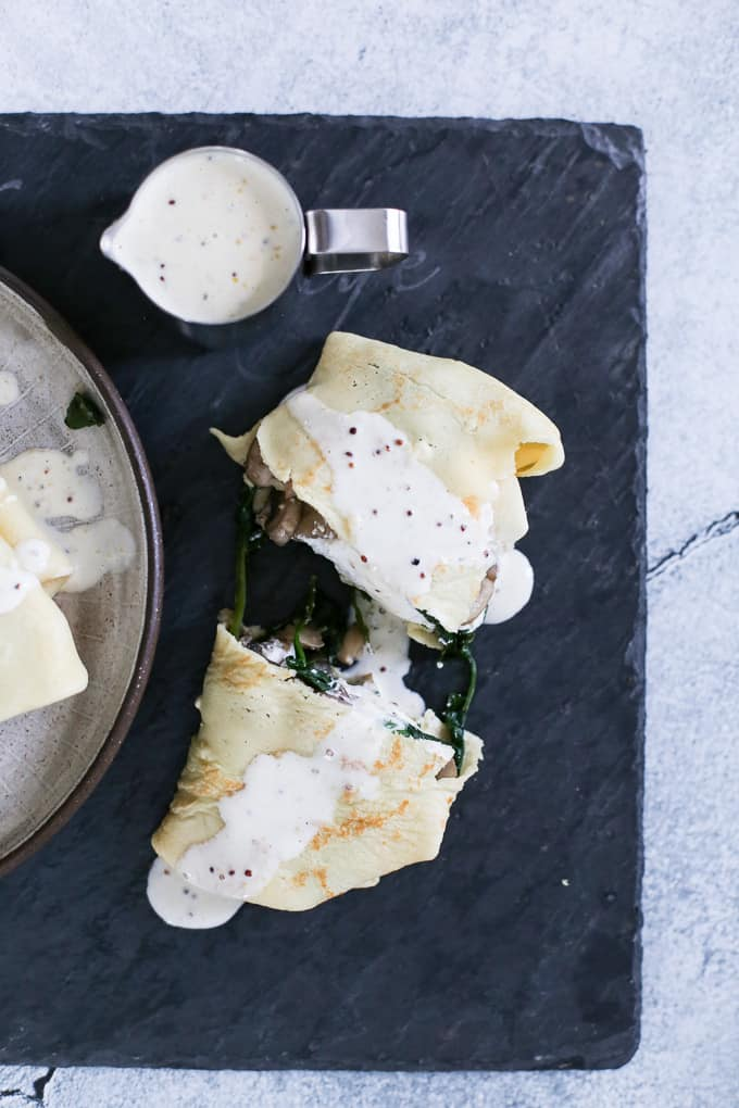 Mushroom Spinach Ricotta Crepes with Dijon Cream