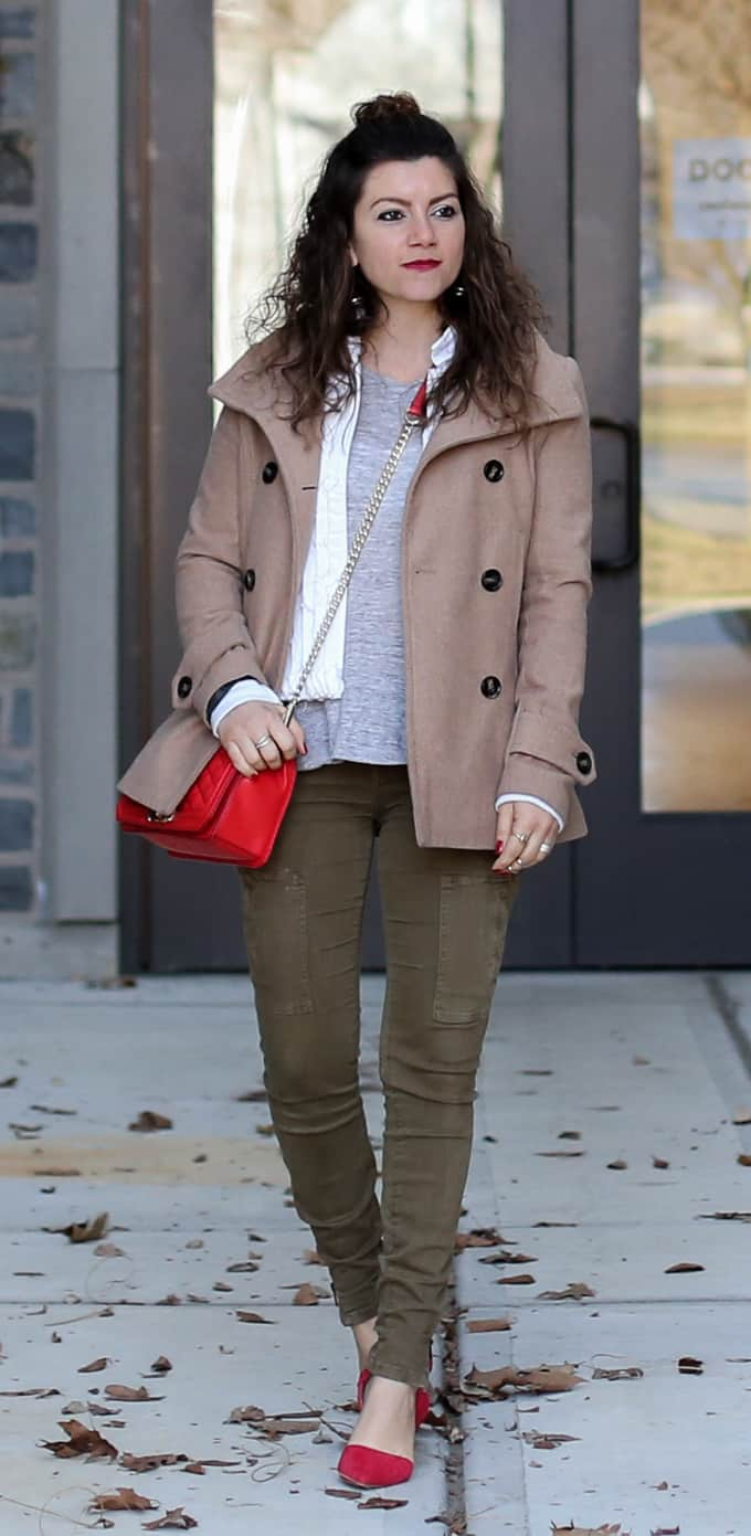Olive skinnies, gray top, cream jacket and red heels