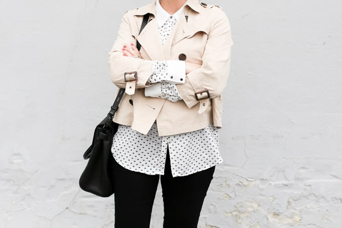 spring style: crop trench, collared blouse, black denim