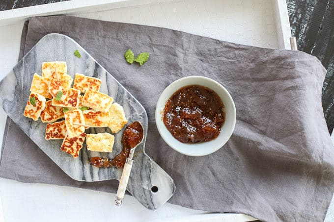 Grilled halloumi cheese with fig jam