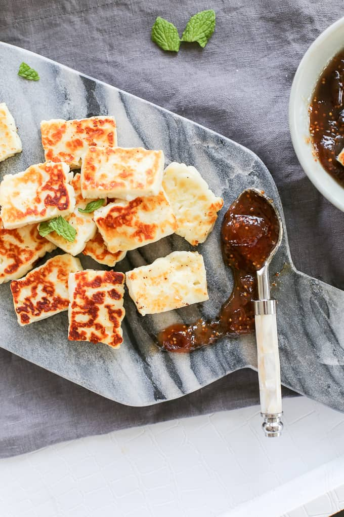 Grilled Halloumi Cheese W Fig Jam Fashionedible