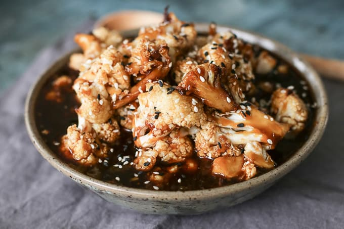 Vegan Teriyaki Style Roasted Cauliflower