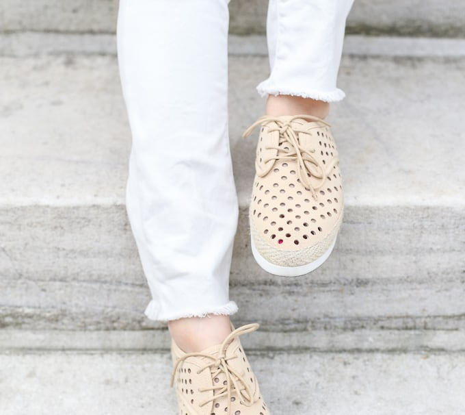cold shoulder poncho, espadrille sneakers, distressed white denim