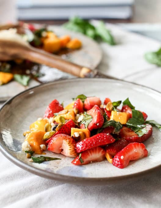 Healthy summer salad: strawberry mango basil salad