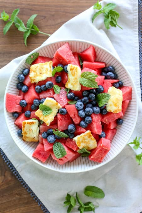 blueberry watermelon mojito salad with mint and lime (no rum)