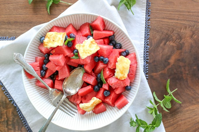 Blueberry Watermelon Mojito Salad w. Grilled Halloumi