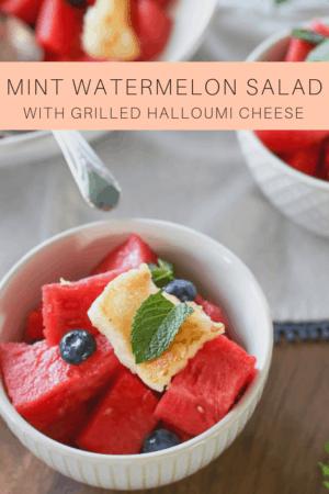 grilled halloumi & mint watermelon salad