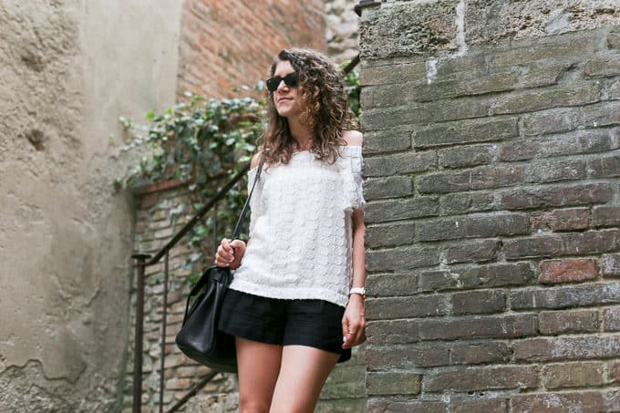 summer style: off the shoulder embossed top with black shorts