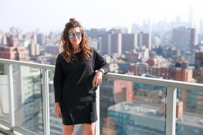 NYFW: Denim Dress & Gray Stud Sandals