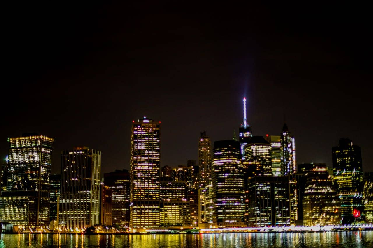 nighttime shot of NYC