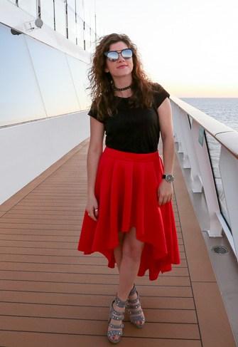 Red Ruffle Skirt + Black Tee + Gray Sandals