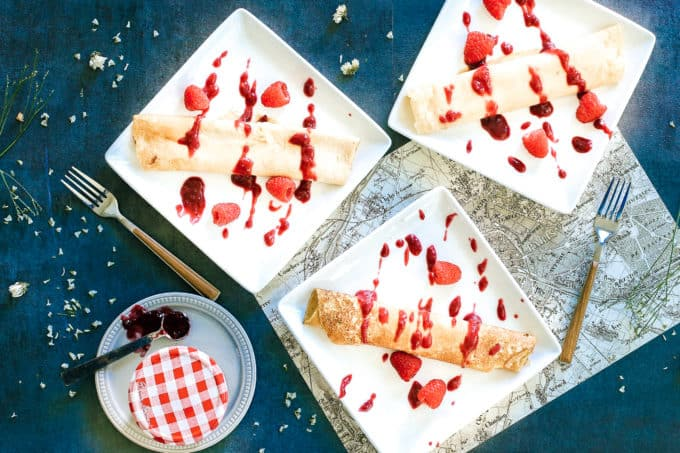 Mascarpone Stuffed Crepes with Raspberry Preserves
