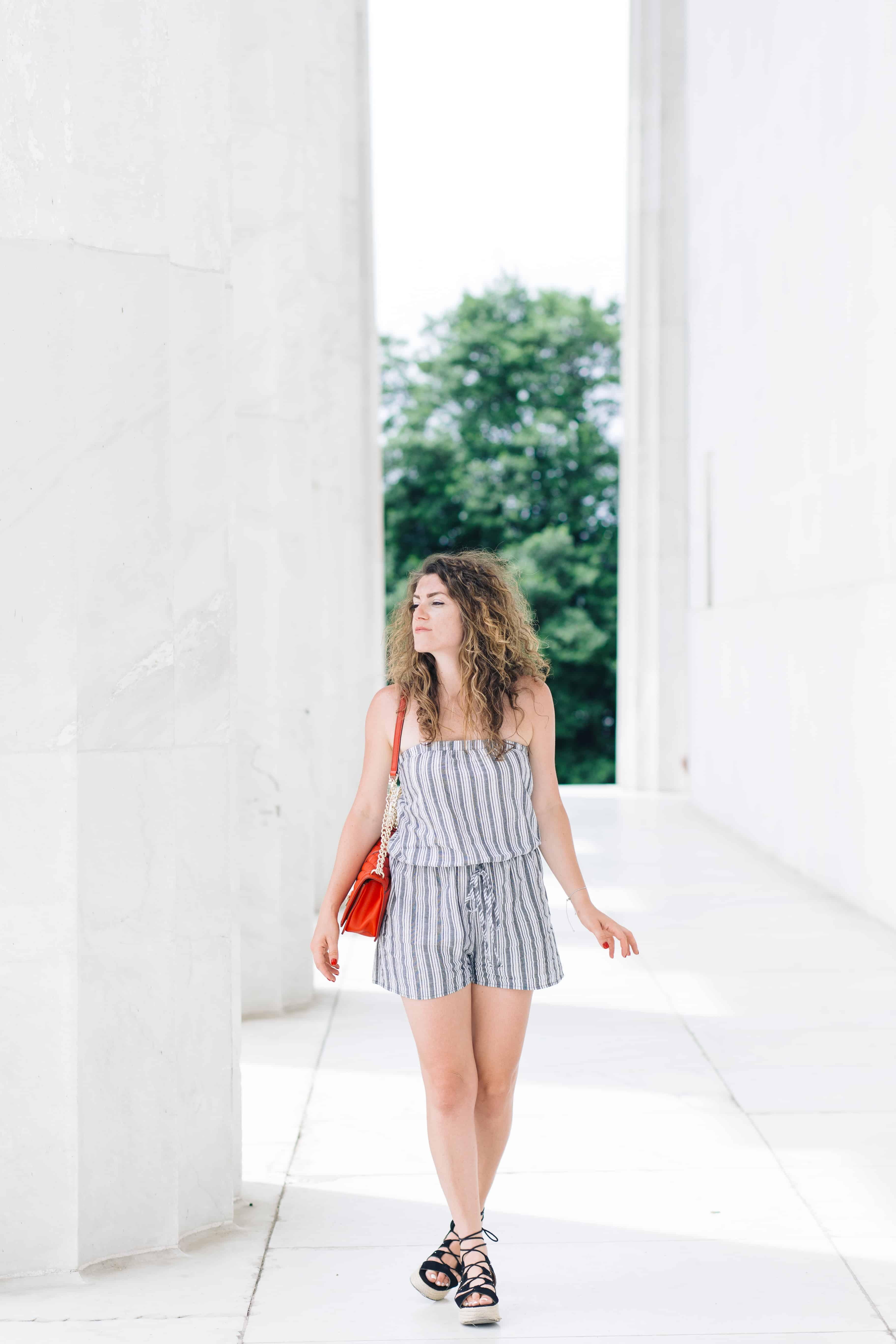 Summer Chic: Striped Romper Silver Jewelry
