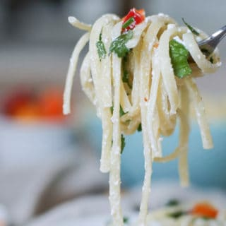 Goat Cheese Garlic Linguine w. Mini Sweet Peppers