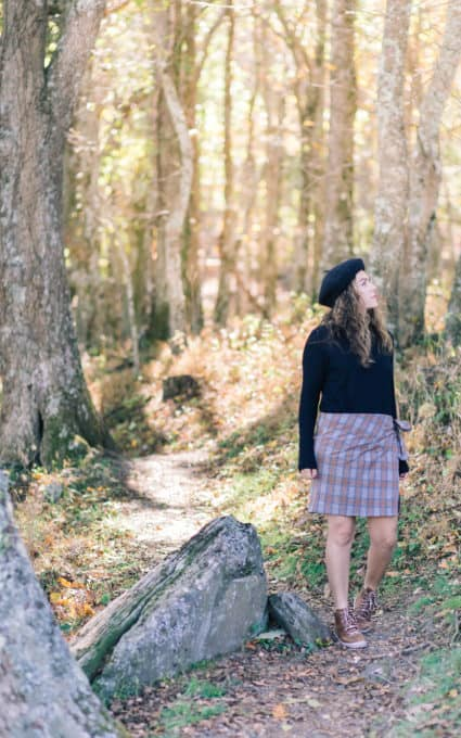 Ruggedly French Plaid Skirt, Beret and City Boots