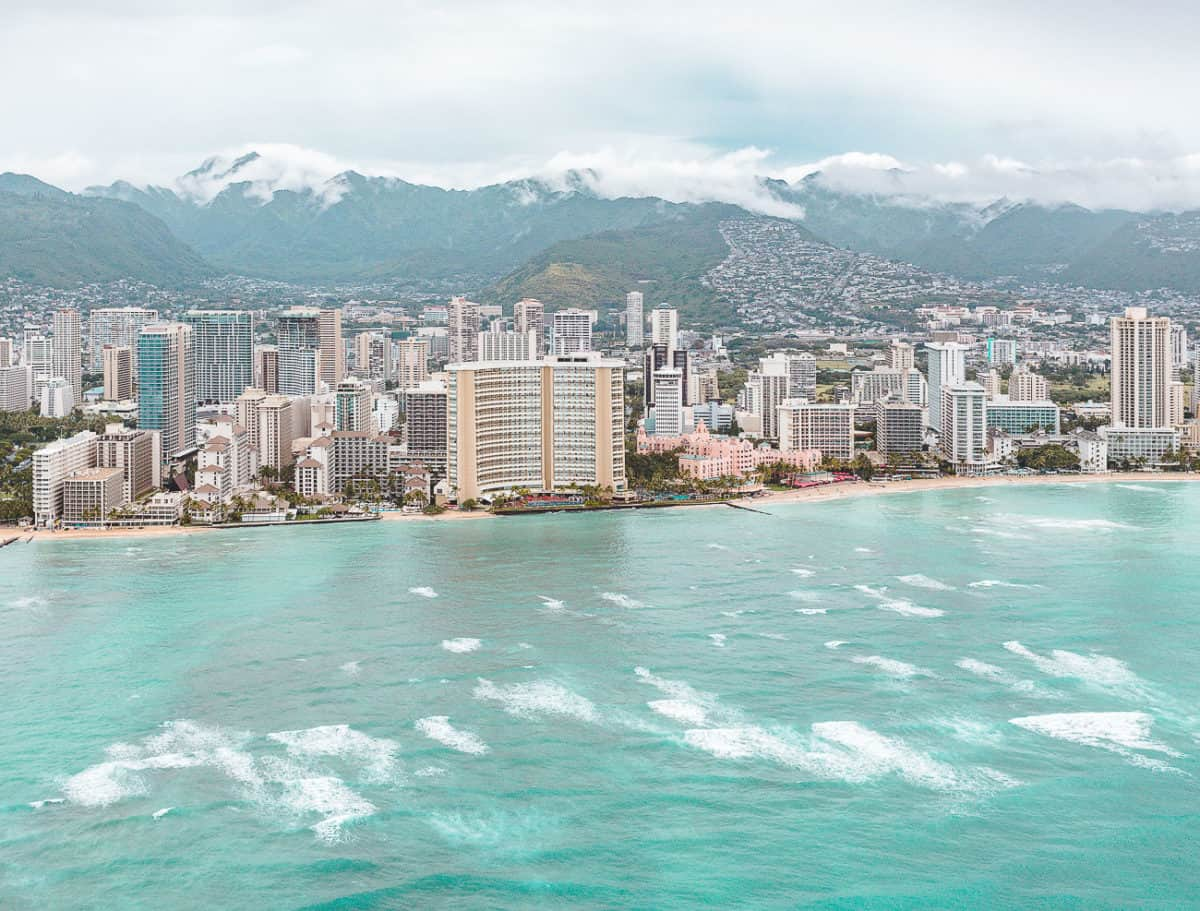 city view of Oahu taken from a helicopter