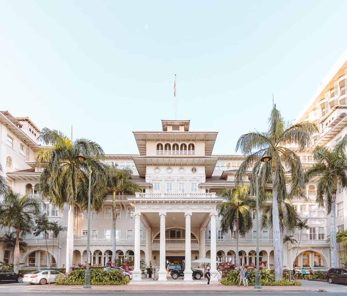 the front entrance of the Moana Surfrider Hotel in Oahu