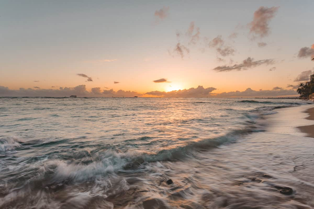 sunset over the ocean in Oahu