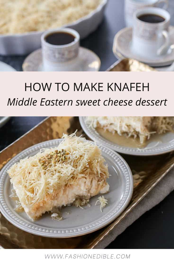 Knafeh Recipe - A Lebanese Sweet Cheese Dessert with Pistachios | Middle Eastern Recipes
