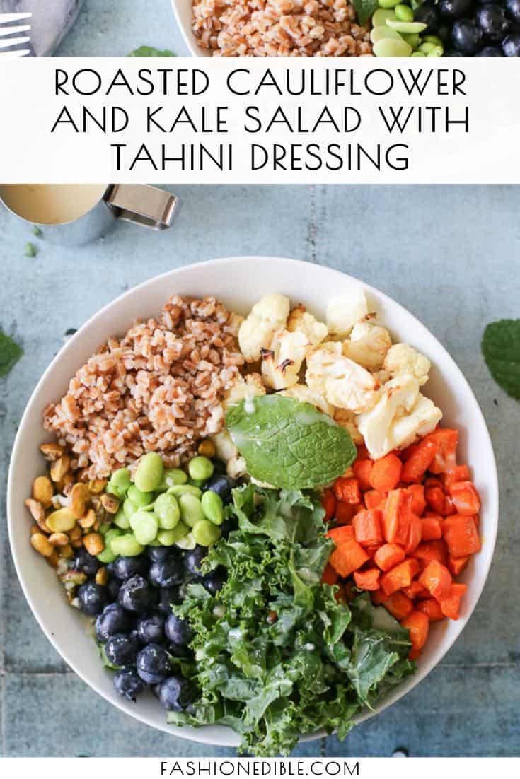 Roasted Cauliflower Salad Recipe | Roasted Carrot Salad | Edamame Blueberry Salad | Tahini