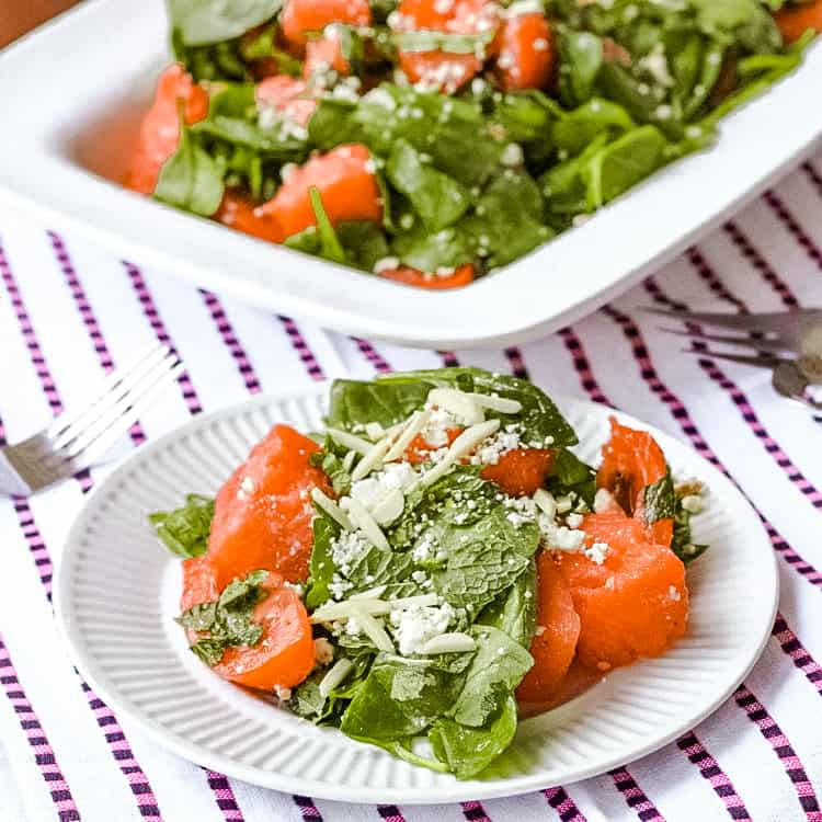 watermelon tomato feta spinach salad