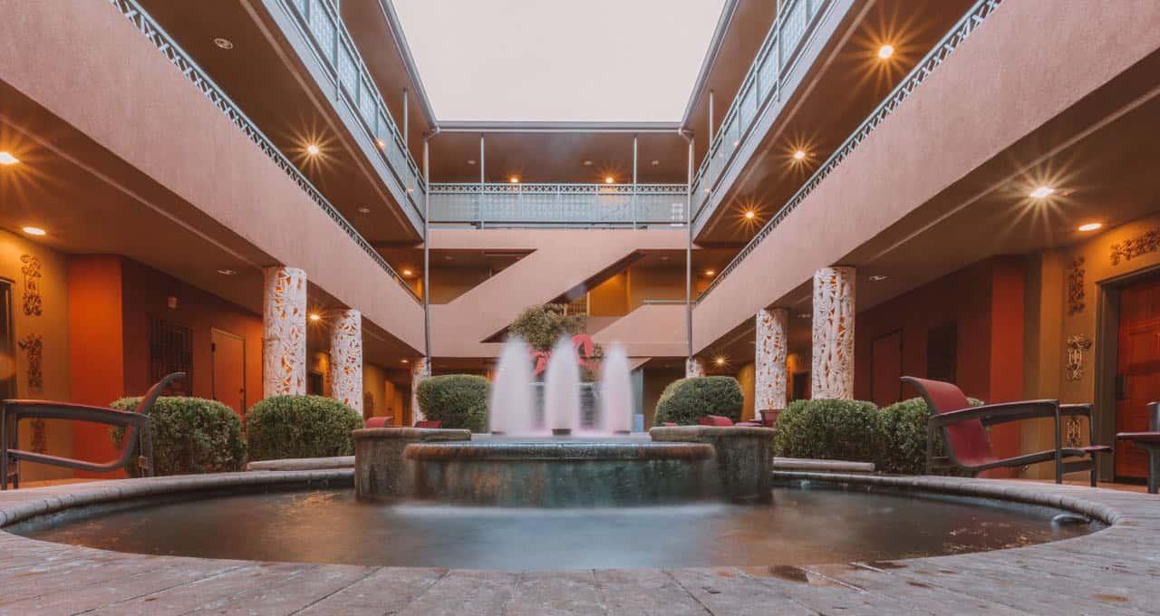 water fountain in a hotel in Sedona