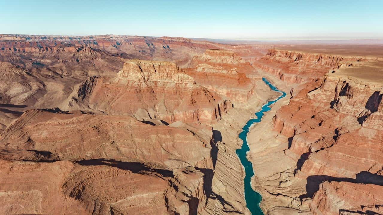 helicopter view over the Grand Canyon