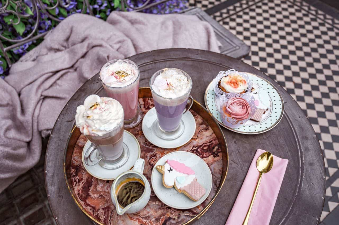 cool things to do in London: enjoy a unicorn latte at Saint Aymes