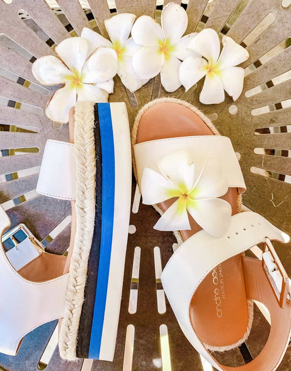 Andre Assous travel sandals with pretty flowers
