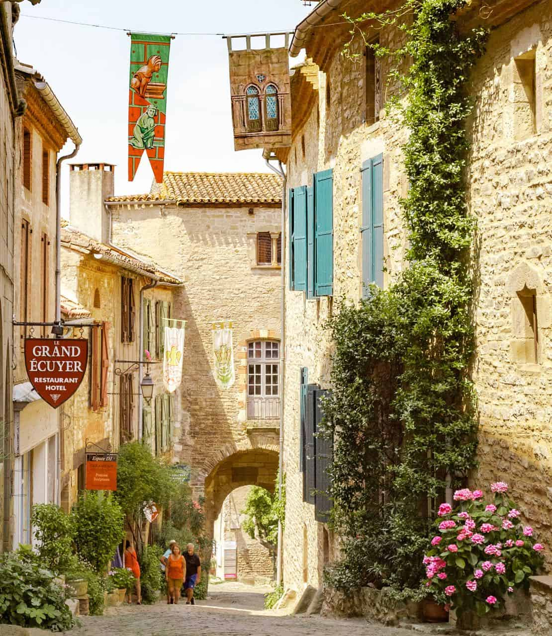 view of a medieval street in France