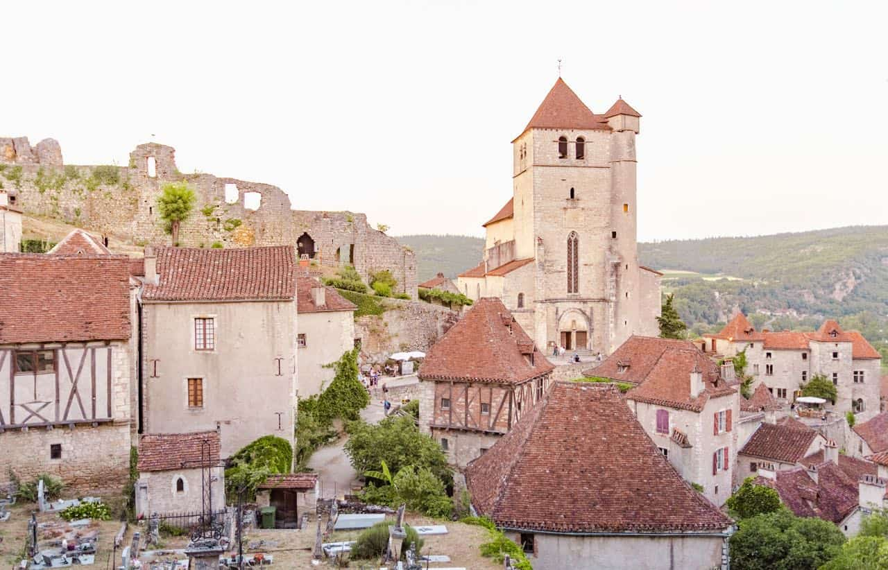 view of the southwest French town of Saint Cirq Lapopie