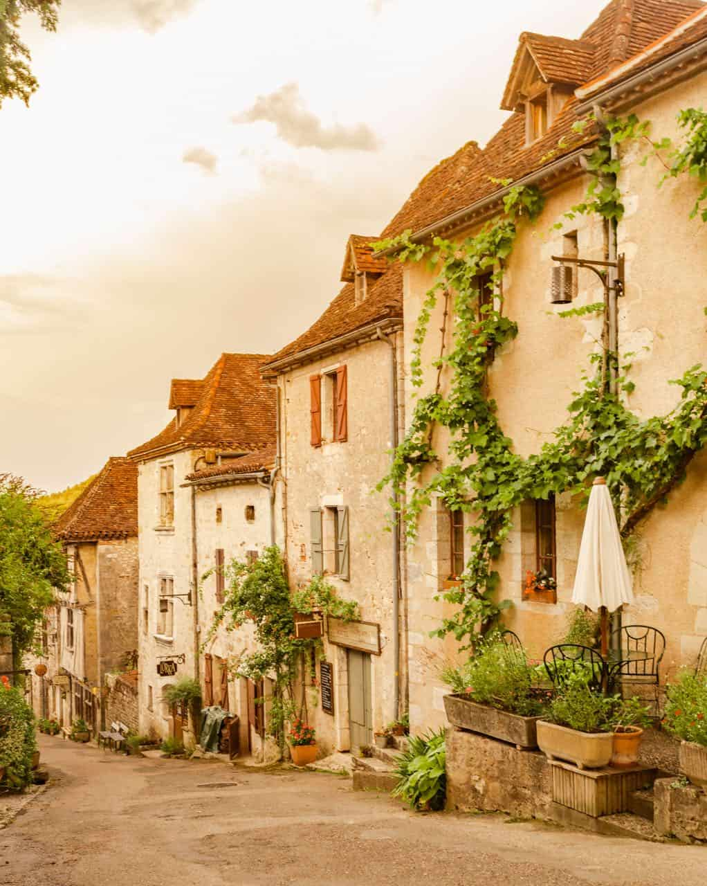 street view of medieval town in France