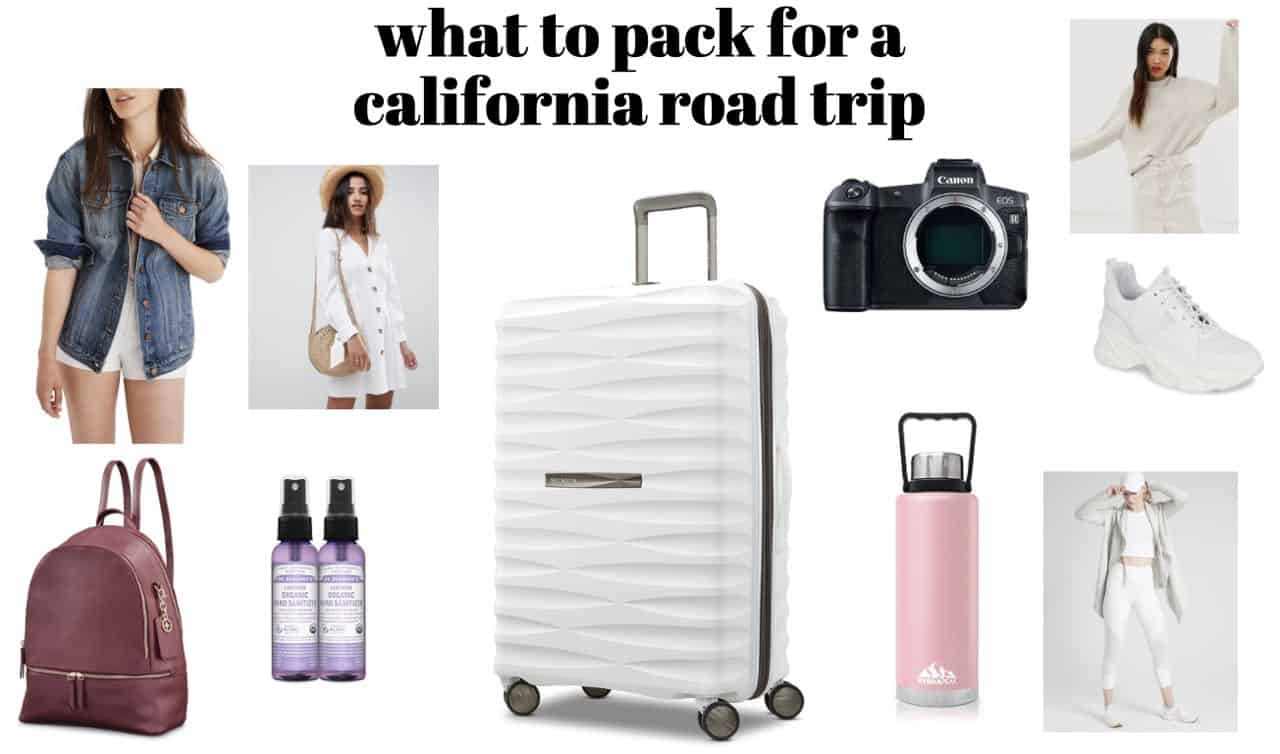 packing list for california road trip in the summer