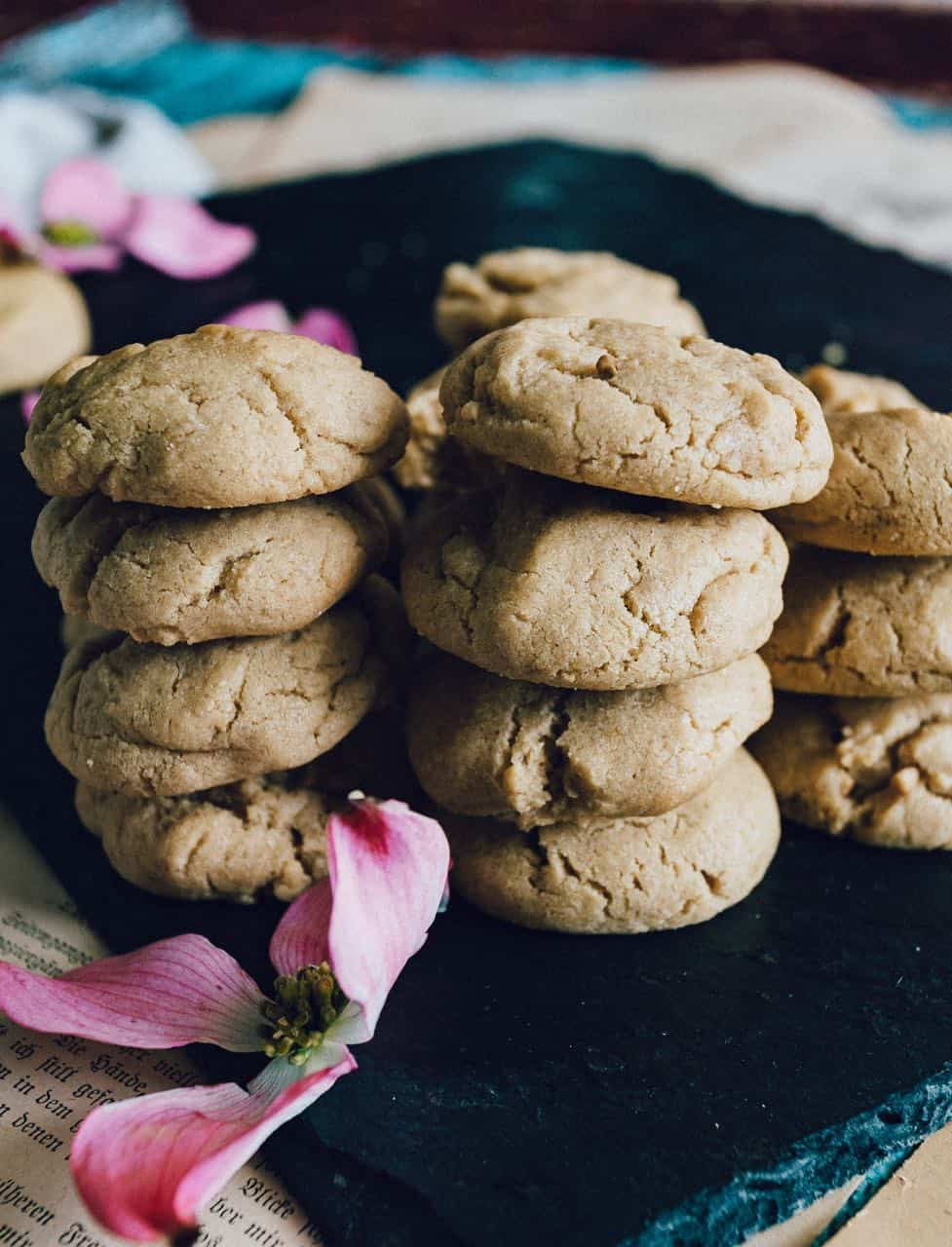soft peanut butter cookies made with chunky peanut butter